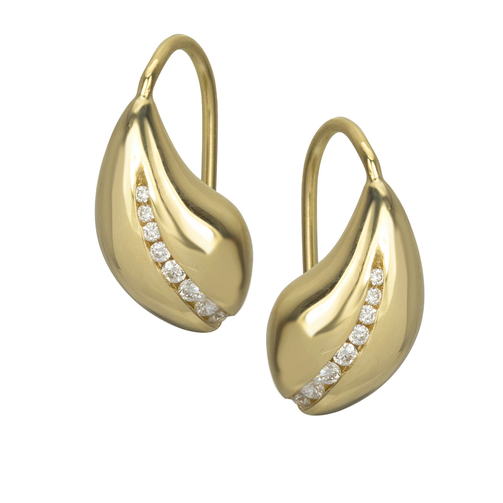 Snow Drop Earrings, 18K gold and diamonds