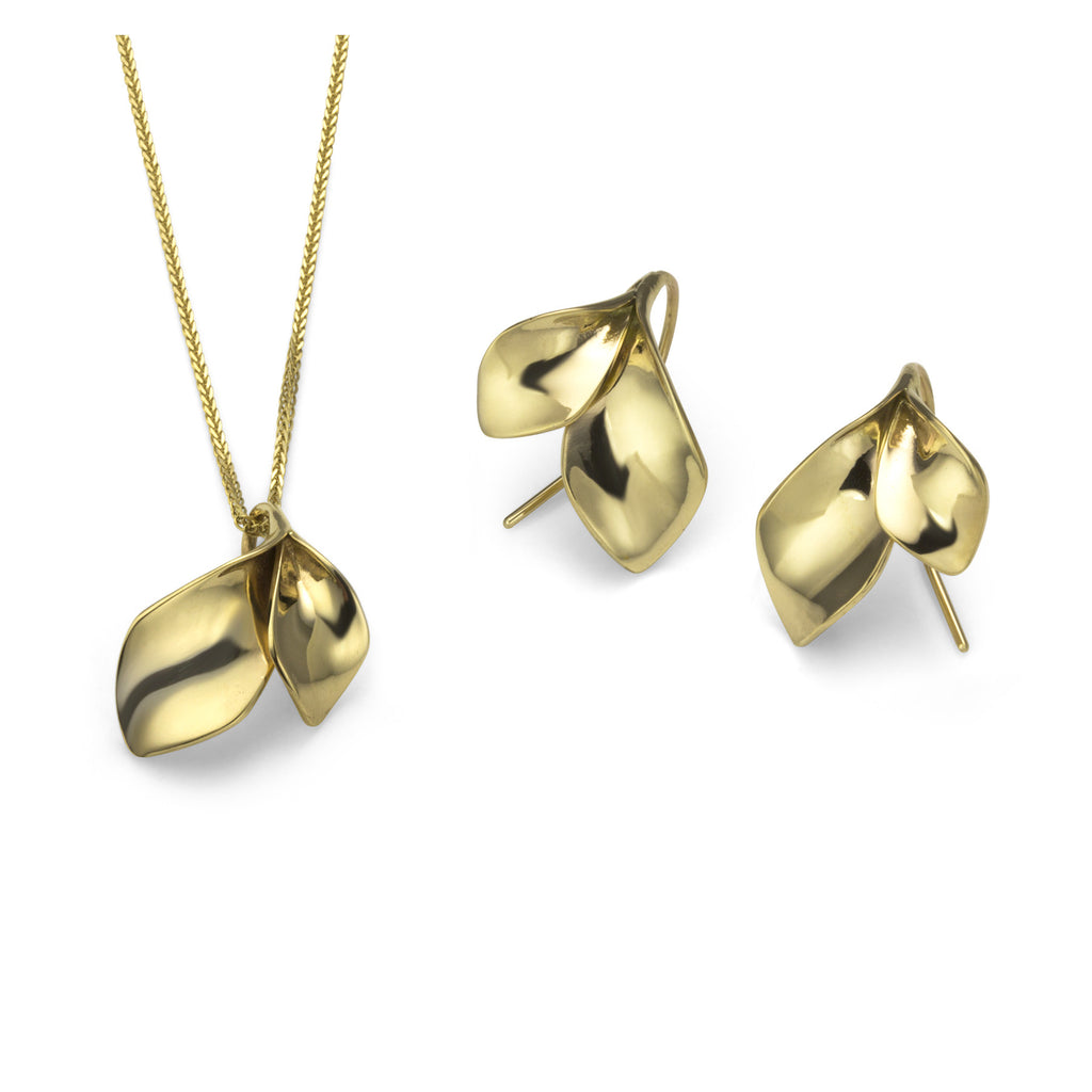 Vine Leaf Necklace and Earrings in 14K gold