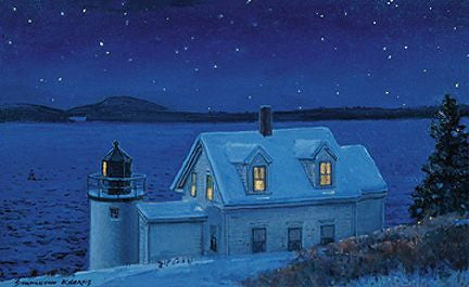 Gift Enclosure Card - Lighthouse at Night - 78