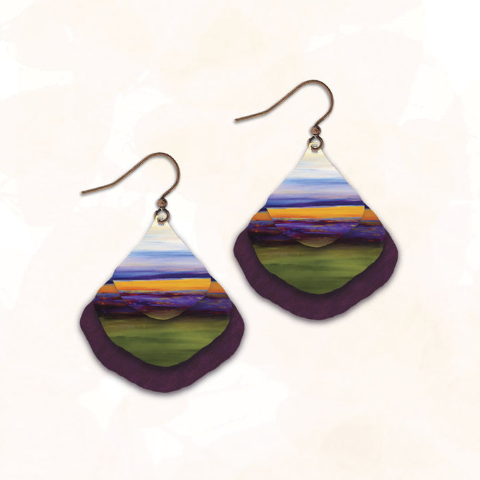 Earrings - Lavender Fields Triple Fan - 10NGE
