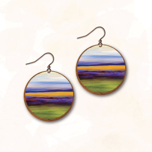 Earrings - Lavender Fields with Copper Disc - 10NRE
