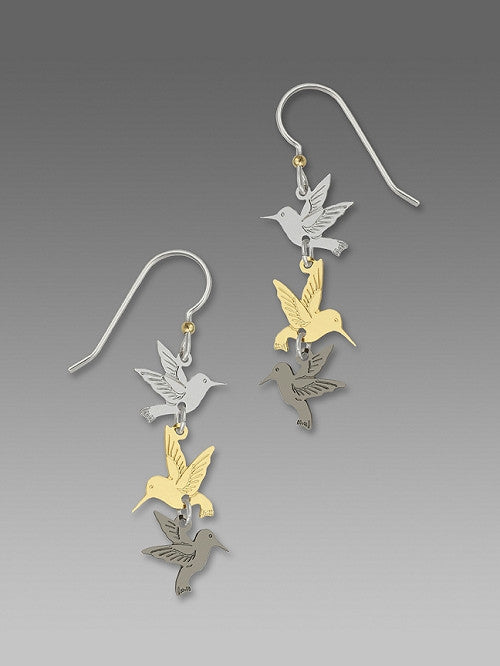 Earrings - 3-Part Plated Hummingbirds - 1265