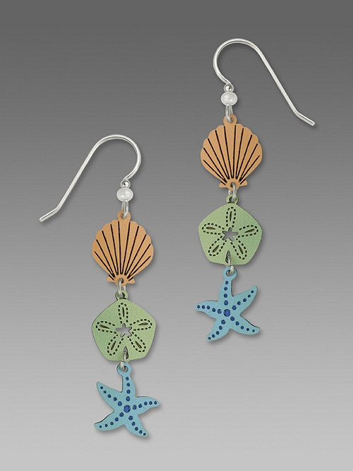 Earrings - 3-Part Starfish, Sand Dollar - 1424