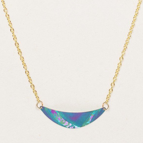 Necklace - Selena - Turquoise/Purple - Gold - 14911