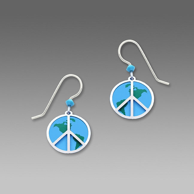Earrings - Peace Sign (IR Plate) with Globe - 1642