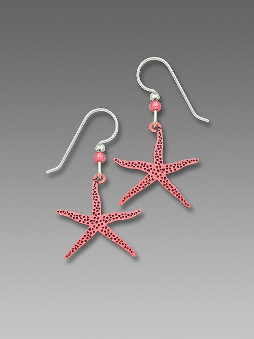 Earrings - Slender pink starfish - 1771