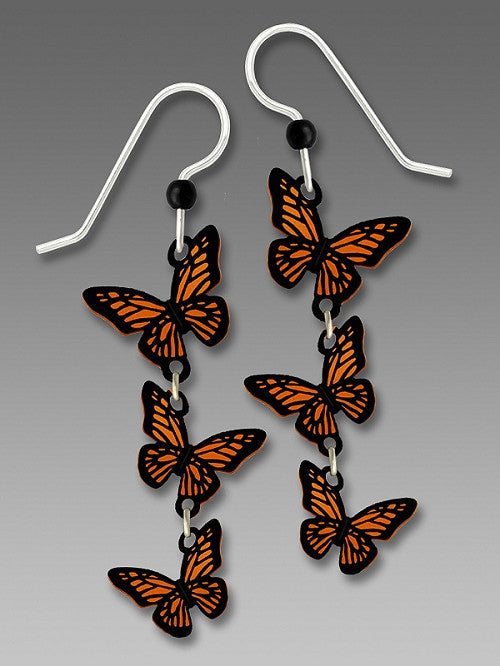 Earrings - 3-Part 3-D Monarch Butterflies - 1785