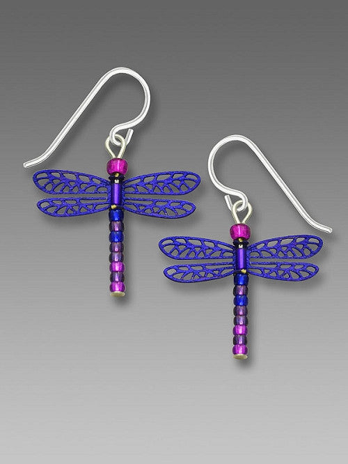 Earrings - Blue Violet Beaded-Tail Dragonfly - 1831