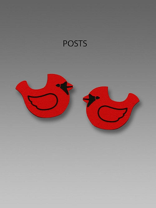 Earrings - Red Cardinal Posts - 1857