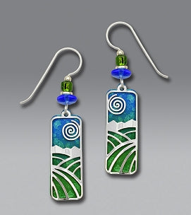 Earrings - Lush Green and Blue Column with Landscape Overlay - 7285