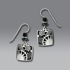 Earrings - Black Square with Sunrise Overlay - 7303