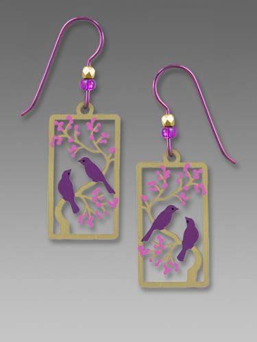 Earrings - Two Purple Birds on a Branch with Purple Leaves - 2022