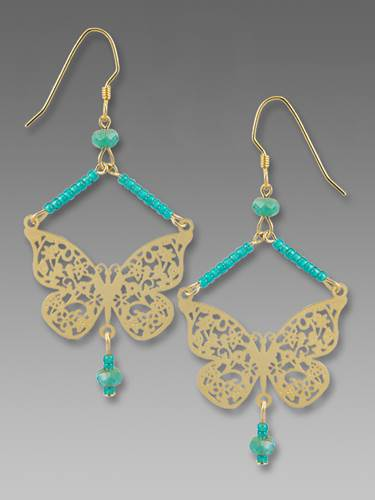 Earrings - Hanging Butterfly with Flower Design Wings - 2064