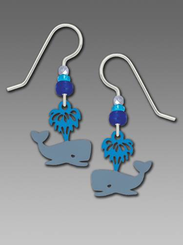 Earrings - Whale with Waterspout - 2068