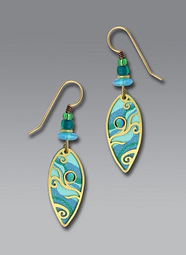 Earrings - Aqua Green Drop with Curls and Cab - 7329