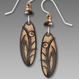 Earrings - Sand Stone Brown Oval with Reeds & Grasses - 7525