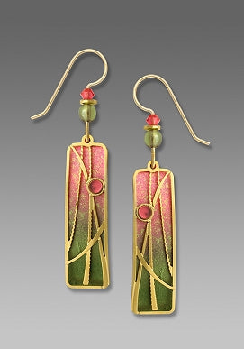 Earrings - Olive & Sunset Pink Column w/Reeds Overlay & Cab - 7535