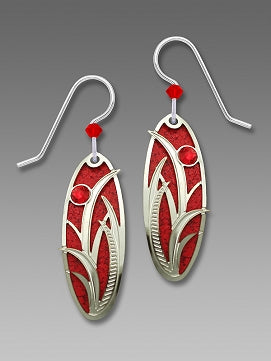 Earrings - True Red Oval with Grasses Overlay & Red Rhinestone - 7563