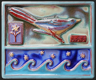 Ceramic Art Tile - Wave Bird