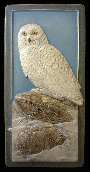 Ceramic Art Tile - Snowy Owl - B78