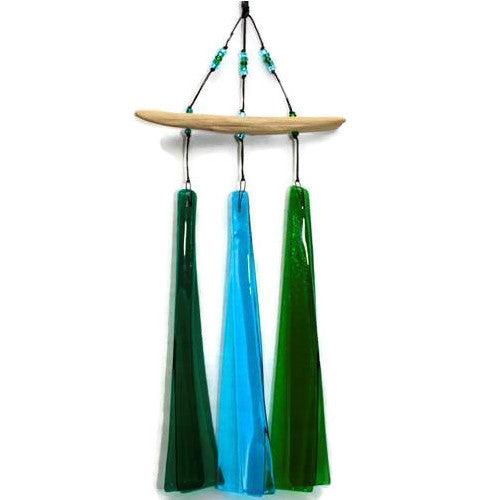 Wind Chimes - Three Piece Fused Glass Wind Chime on Driftwood - Blues and Greens - 3BG