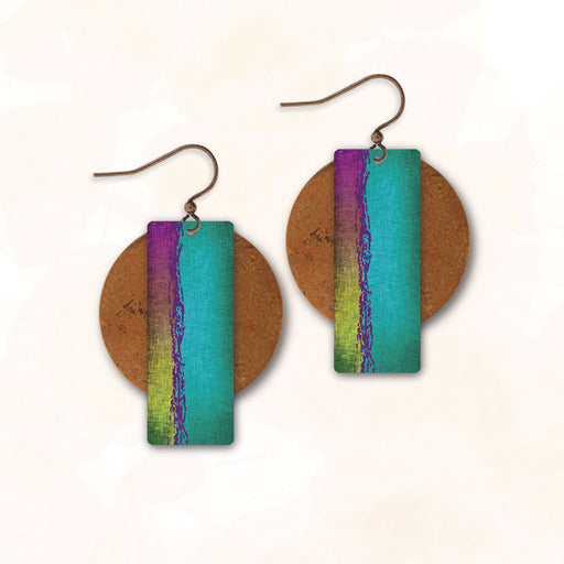 Earrings - Aqua and Magenta Rectangle with Copper Disc - 3AE