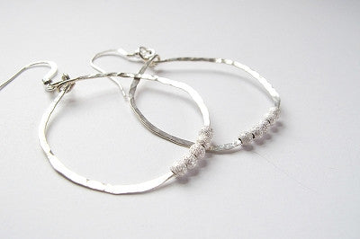 Earrings - Sterling Silver Circle Drop with Sparkled Beads