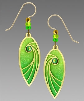 Earrings - Brilliant Spring Green Leaf Shape with Shooting Star & Cab - 7746