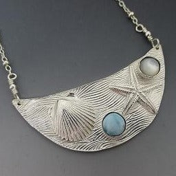 Necklace - Fine Silver PMC Beach Scene