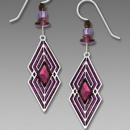 Earrings - Diamond Overlay with Purple Backing - 7765