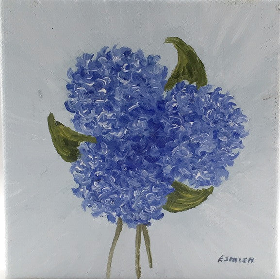 Original - 4x4 - Hydrangea Blossoms - Light Blue Background - HBBlue-001