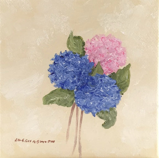 Original - 4x4 - Pink & Blue Hydrangeas - Cream Background - PBHCream-001