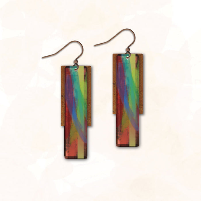 Earrings - Aqua Blue Red Thin Rectangle with Copper Rectangle - 5FE