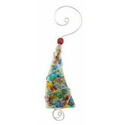 Ornament - Crushed Glass Tree - 5 Inch - Bright