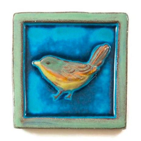 Ceramic Art Tile - Wren - Small - Aqua/Pea Green