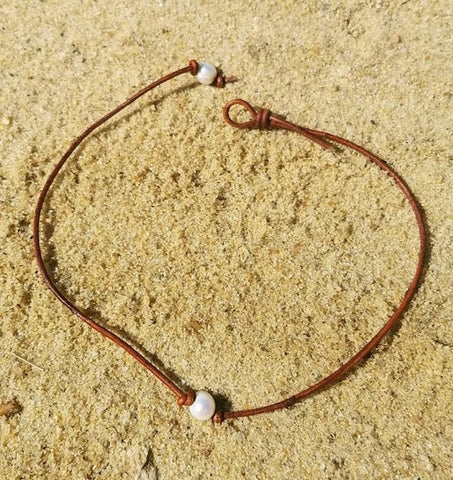"Pearl Choker - 16"" - Brown"