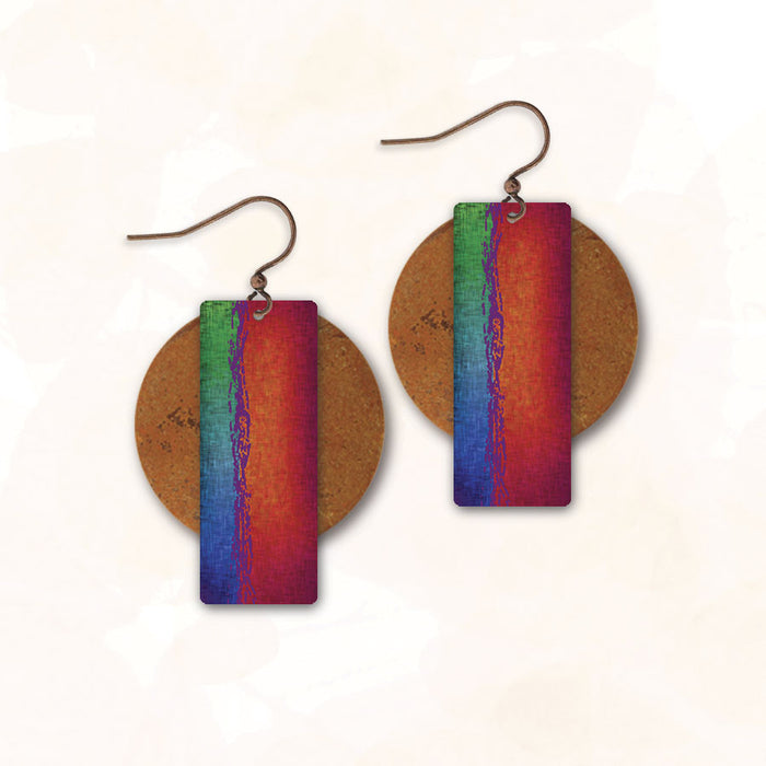 Earrings - Umber and Blue/Green Rectangle with Copper Disc - 6AE