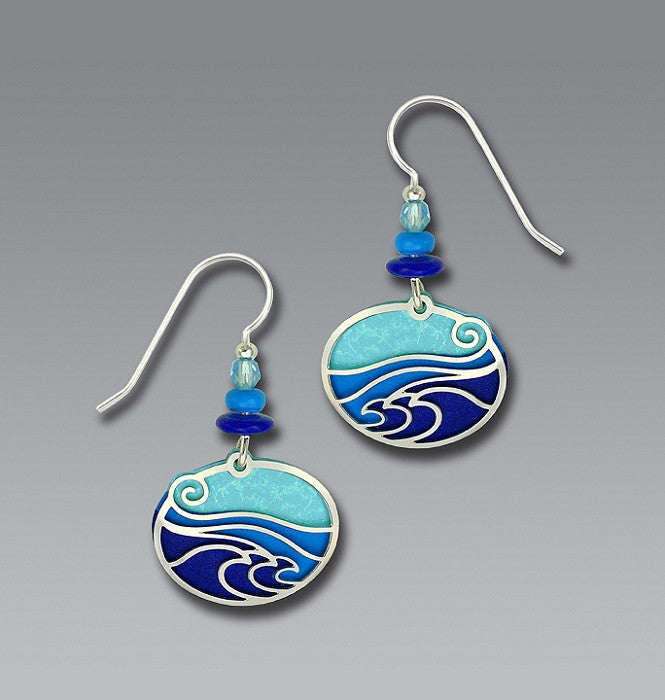 "Earrings - IR ""Waves"" - Aqua/Blue/Purple Oval Backer - 7317"