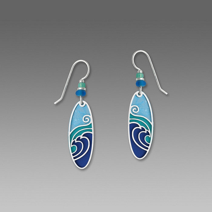 Earrings - Blue & Aqua Long Oval w/IR 'Waves' Overlay - 7350