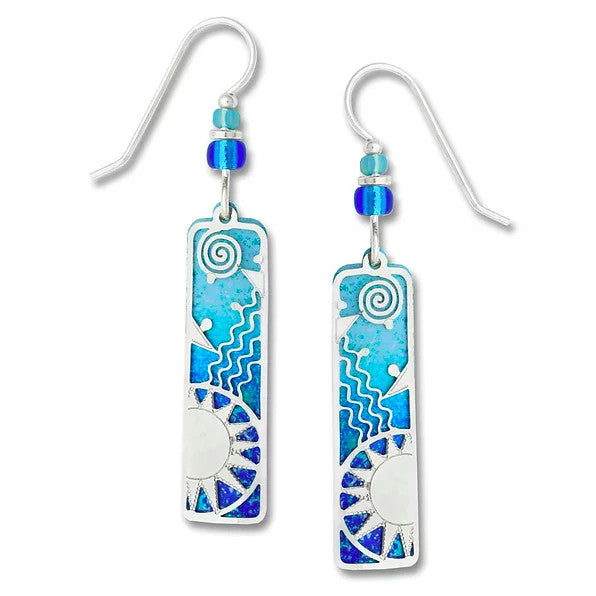 Earrings - Two Tone Blue Column with Sunrise - 7364