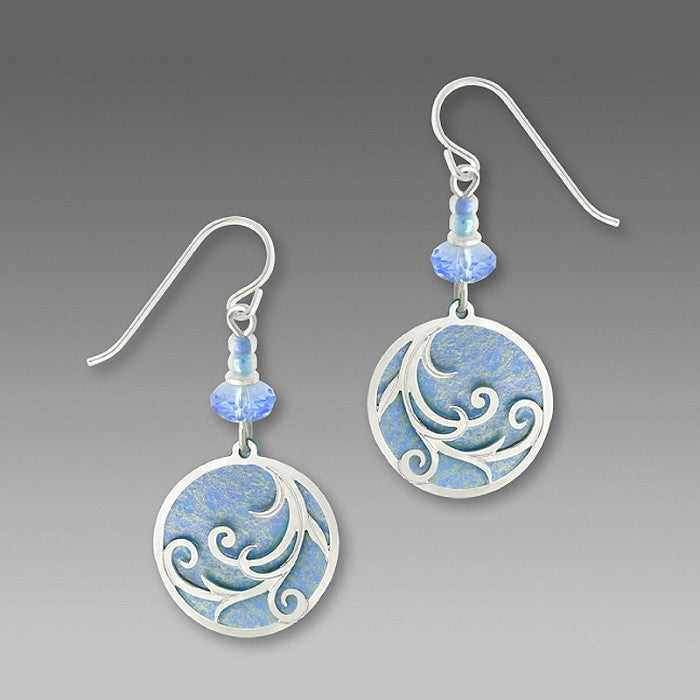 Earrings - Light Blue Disc w/IR Tendrils Overlay - 7398