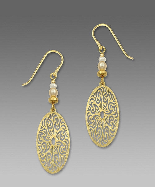 Earrings - Textured GP Large Filigree Oval- 7413