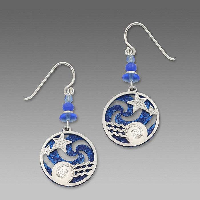 Earrings - Ocean Blue Pinwheel w/IR 'Stars Over Water' Overlay - 7428