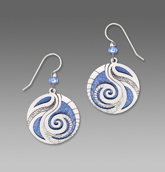 Earrings - Periwinkle disk with Spiral Overlay - 7487