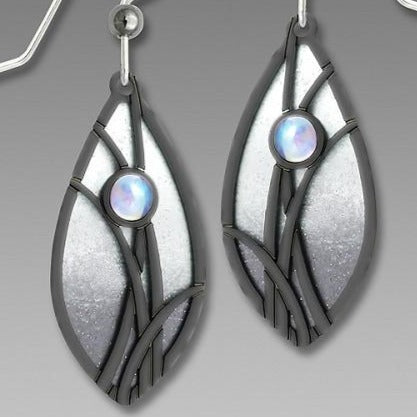 Earrings - Slate Gray & White Almond Shape w/IM 'Grasses' & Cab - 7551