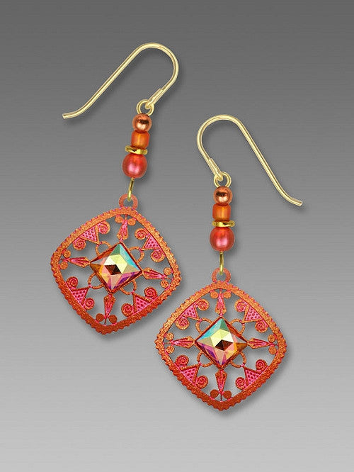 Earrings - Bright bronze/coral filigree with faceted square cab - 7589