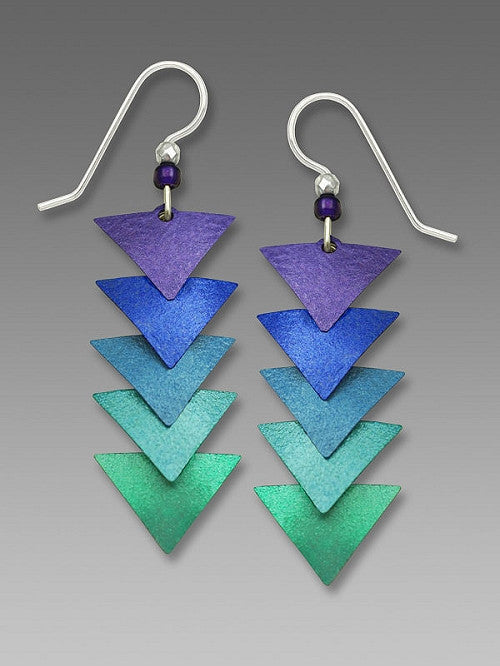 Earrings - Five-Part Descending Amethyst Teal Triangles - 7598
