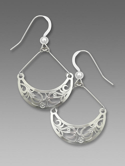 Earrings - Imit. Rhod. Crescent with Flowered Tendrils - 7605