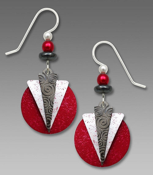 Earrings - Hematite and White Triangles Over Red Disc - 7658