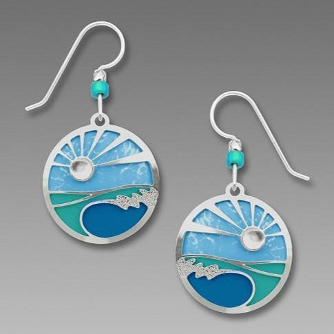 Earrings - Disc w Caribbean Blues - 7703